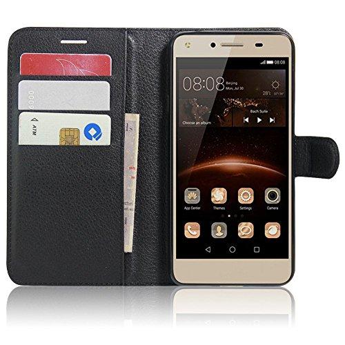 SMTR Huawei Y5II / Huawei Y5 2 Fundas de PU Cuero Flip, Standing Leather Wallet Case Cover Carcasa Funda con Ranura de Tarjeta Cierre Magnético y función de soporte para Huawei Y5II / Huawei Y5 2, Negro