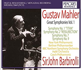 Barbirolli Conducts Mahler Vol.1': Symphonies 1 Two Versions: W.New York Philharmonic R