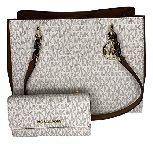 MICHAEL Michael Kors Sofia Large Shoulder Tote bundled with Michael Kors Jet Set Travel Large Trifold Wallet (Signature MK Vanilla)