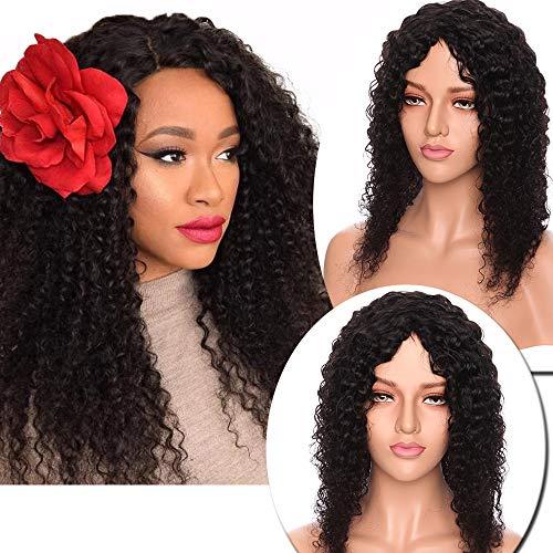 """Perruque Femme Naturelle Brésilienne Bob Longue sans Lace Frontal Curly Frisee Afro Vrai Cheveux Humain san Colle Frange -100% Human Hair 14""""(35CM) Water Wave - Noir Naturel"""