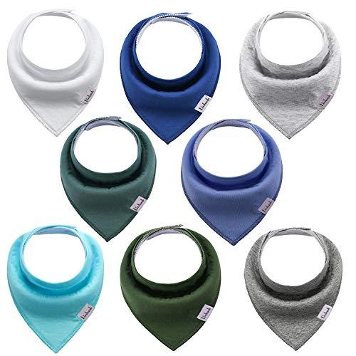 Linlook Baby Dreieckstuch Lätzchen - Spucktuch Baumwolle Saugfähig Weich Halstücher für Baby Jungen und Mädchen Einfarbig 8er