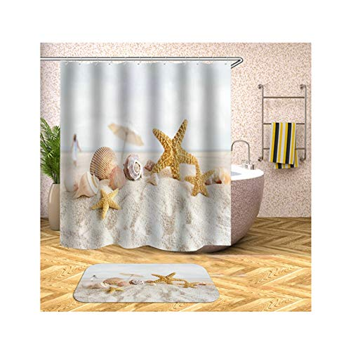 Anwaz Duschvorhang & Badezimmerteppich Set Waschbar aus Polyester Schale Strand Muster Design Badewannenvorhang Bade Matte Beige mit 12 Duschvorhangringen für Badezimmer - 150x180CM/ 40x60CM