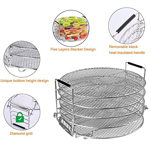 Buy Bargain Stackable 5-tier Dehydrator Stand For Air Fryer Pressure Cooker, Stainless Steel Food Dr...