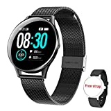 HopoFit Reloj Inteligente para Mujer y Hombre, Smartwatch de Android iOS Phone con monitoreo de frecuencia cardíaca/sueño, Seguimiento de Actividad física, IP67 Reloj Impermeable (Negro)