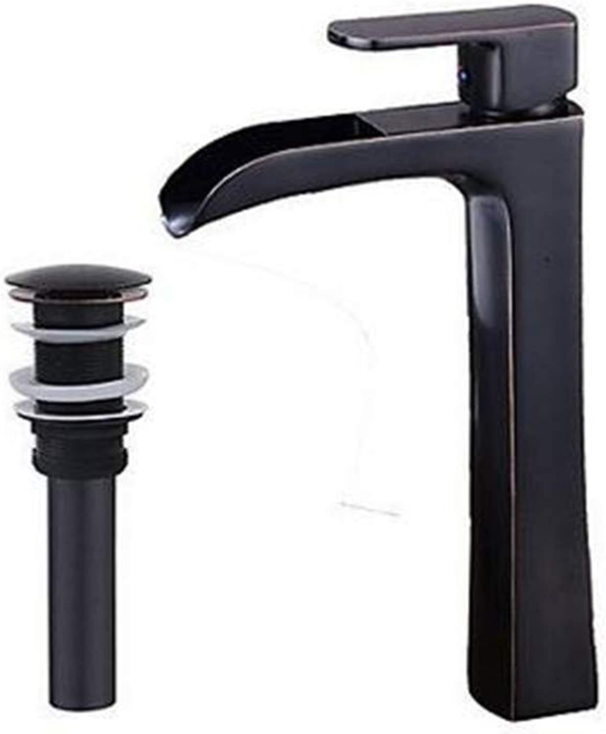 Kitchen Hot and Cold Water Brass Chrome Contemporary Waterfall Widespread Pre Rinse with Ceramic Valve Single Handle One Hole for Oil-Rubbed Bronze Bathroom