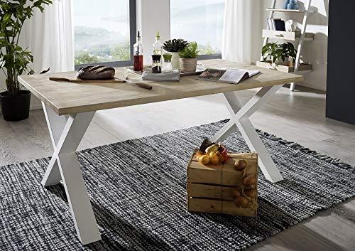 Main Möbel Eettafel 200x90cm 'Buckley' acacia wit geborsteld