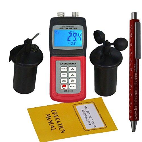 TR-Z-AM-4836C Digitaler handgehalten Geschwindigkeitsanemometer Windmesser Anemometer zur Messung der Windgeschwindigkeit und Temperatur mit LCD