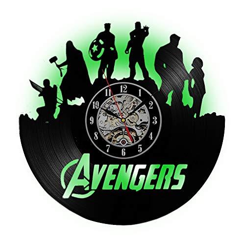 Preisvergleich Produktbild Meet Beauty 2018 New Trending Modern Design LED Wanduhr aus Vinyl Avengers Ultron Theme Dekoratives Vinyl Large Home Hanging Clock - Geschenkidee für Iron Man Fans Boy Friend und Weihnachten