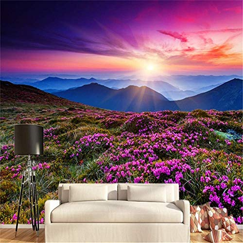 HGHJ Fine Décor Wallpaper Sunset Flower Romantic Fantasy Background Background Wall Sidewall Wallpaper