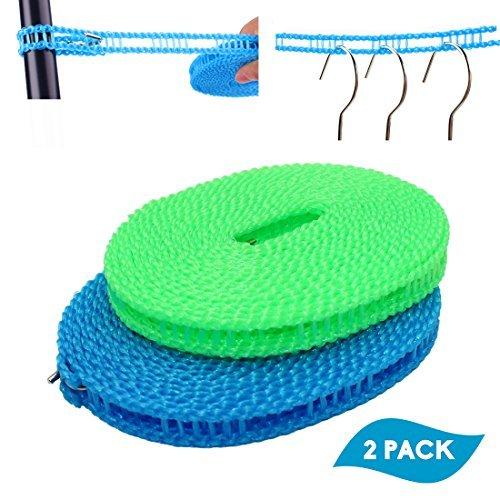 switty 2Pack ausziehbare Wäscheleine Kleidung Trocknen Seil tragbar Reise Schirmhaspel verstellbar für Innen