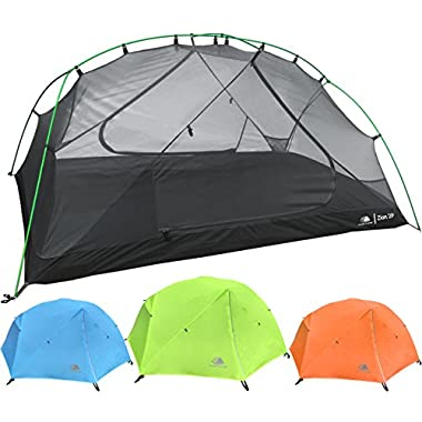 Hyke & Byke 2 Person Backpacking Tent Zion 2P 3 Season Tent, Two Person Lightweight Design for Backpacking, Bike Packing, Thru Hiking, and Camping (Lime Green)