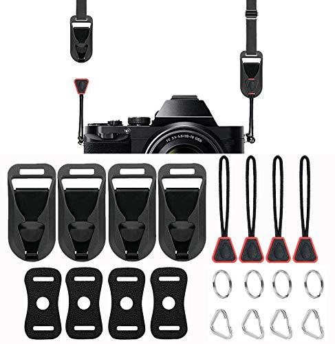 WEINUOTE - 4 conectores rápidos con base, correa para el cuello del hombro, kit de hebilla de liberación rápida para cámaras Canon Fuji, Sony, Nikon, Panasonic, Olympus, color rojo