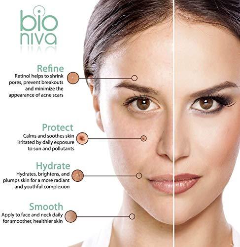 bioniva Retinol serum testsieger 2019 - retinol liposomen liefersystem mit vitamin c & vegan hyaluronsäure - anti-aging lift serum für gesicht dekolleté und körper von bioniva