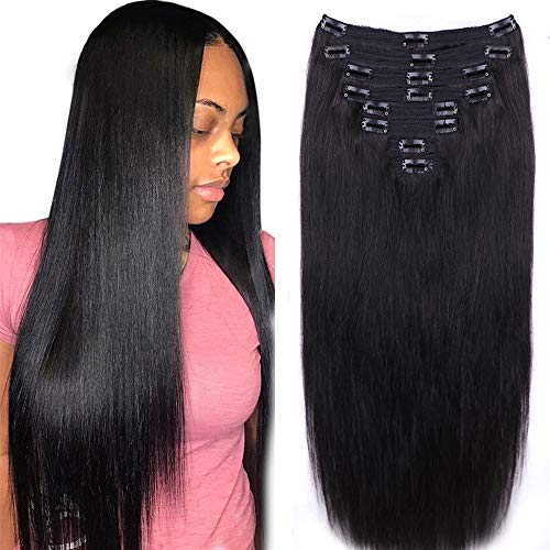 Straight Human Hair Clip in Hair Extensions for Black Women 100% Unprocessed Full Head Brazilian Virgin Hair Natural Black Color ,8/Pcs with 18Clips,120 Gram (16inch, Straight hair)