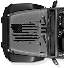 COZARIKA Jeep Wrangler JK TJ YJ Decal Tattered Distressed USA American Flag USA Made + Free Decal (Black)