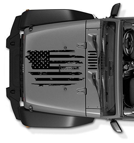 Decals for Jeep Wrangler JK TJ YJ Decal Tattered Distressed USA American Flag USA Made + Free Decal (Black)