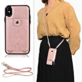 Jaorty PU Leather iPhone X Case,iPhone Xs Wallet Case for iPhone X/XS Necklace Lanyard Case Cover with Card Holder Adjustable Detachable Anti-Lost Neck Strap for Apple iPhone X iPhone Xs,Pink