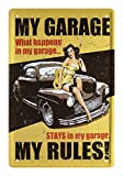 helges-shop Blechschild My Garage My Rules - Deko Retro Schild für zu Hause Werkstatt Garage - Hot Rod Pin Up 50er Jahre - Metallschild Dekoration Geschenk - Vintage Style - 20x30cm