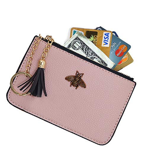 AnnabelZ Women's Coin Purse Change Wallet Pouch Leather Card Holder with Key Chain Tassel Zip (Light Pink)