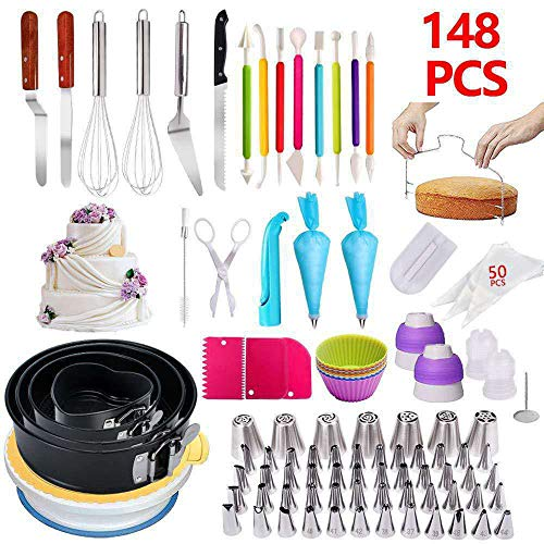 HKIASQ Cake Decorating Tool Set, 148Pcs / Set Rotary Cakes, Nonstick Pastry Pans, Confectionery Nozzles, Pastry Baking Tools