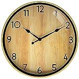 DORBOKER Reloj De Pared - 30CM Reloj Digital Moderno Silencioso Sin Tictac Reloj De Pared Redondo (Luz De Madera)