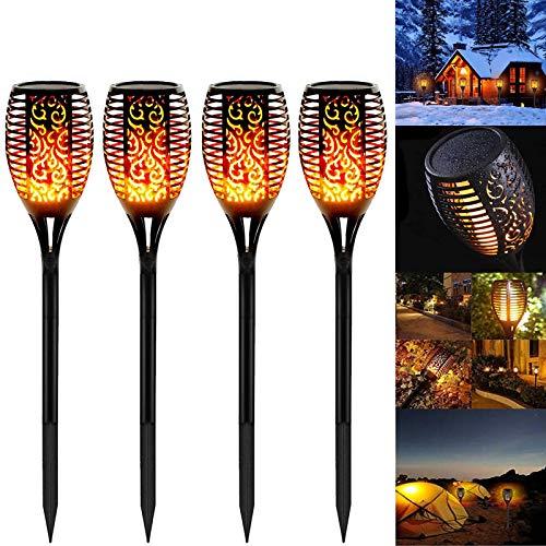 Llama Solar Luces, Swonuk 4 Pieza Luz Solar Exterior Jardin IP65 Impermeable Luces Solares Antorcha, ON/OFF Automático para Patio Jardín Camino