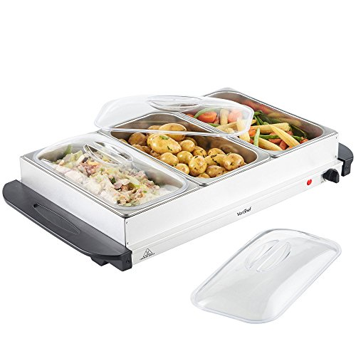 VonShef 3 Tray Food Warmer Buffet Server – 3 x 2.5L Large Pans Keep Food & Plates Hot for Longer – More Compact Than A Hostess Trolley – 300W Electric Adjustable Temperature Control