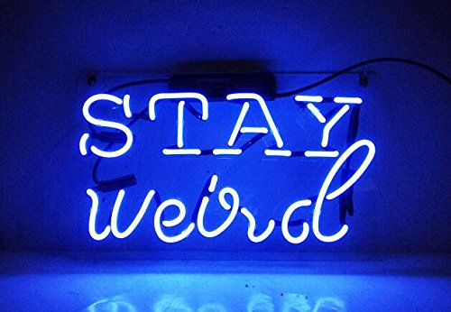 LinC Neon Sign- STAY WEIRD Home Decor Light for Bedroom Garage Beer Bar and Nightclub, Real Glass Neon Light Sign for Wall Decor Art (stay weird)