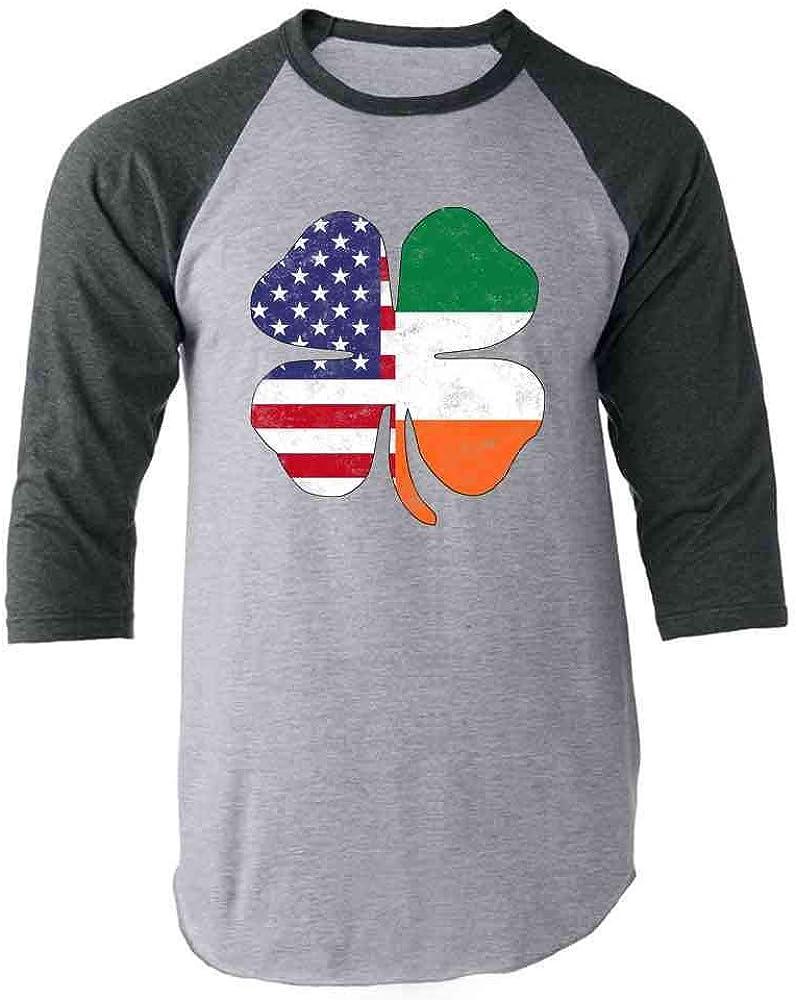 Pop Threads Irish American Flag Shamrock St. Patrick's Day Gray 3XL Raglan Baseball Tee Shirt