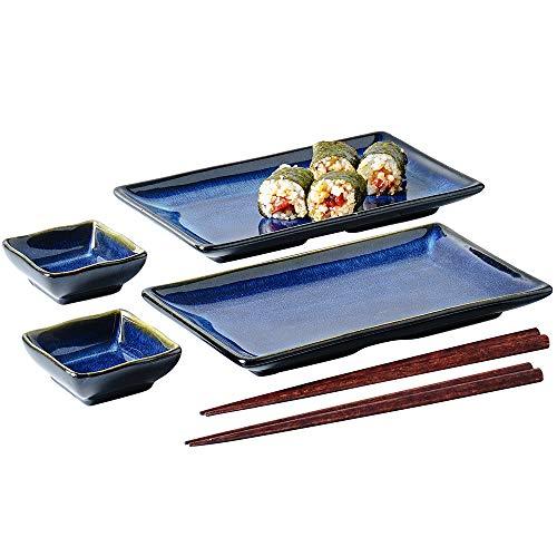 Sushi-Serviertabletts aus Keramik, 6 Stück, japanischer Stil, Sushi-Teller, Geschirr mit Sojasauce, Bambus-Essstäbchen, Einweihungsgeschenk, blau