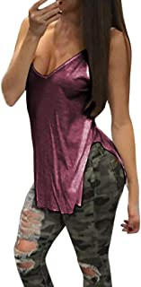 c175e51930cbc3 Women V-Neck Backless Camisole, NDGDA Ladies Solid Color Tank Top V Collar  Blouse