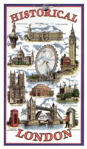 Historical London Tea Towel Souvenir Gift Big Ben Tower...