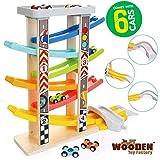 The Wooden Toy Factory - Mega Circuito de Coches de Carreras Click Clack Racing Track con *6* Coches - Incluye Aparcamiento - No Requiere Montaje (Mega Circuito de Coches de Carreras)