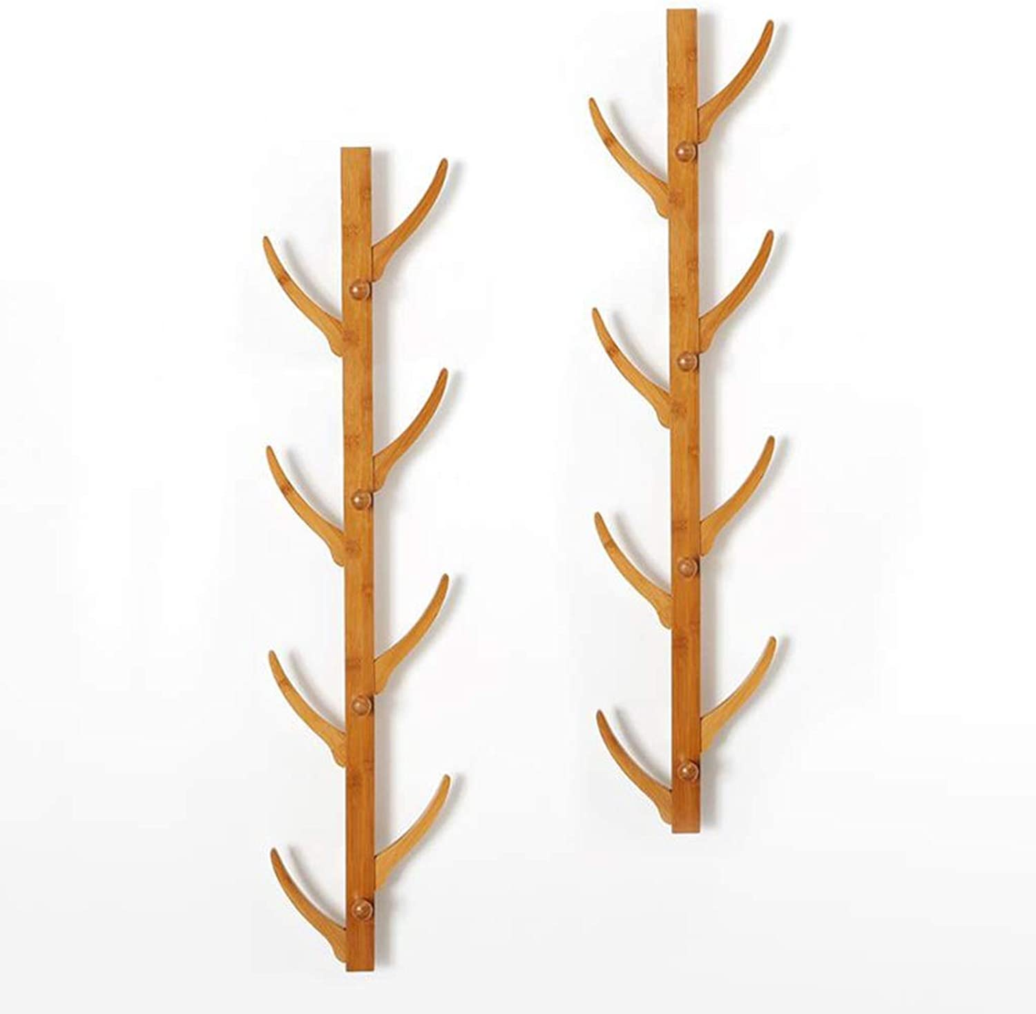 Coat Rack, Wall-Mounted Floating Bamboo Tree Branch Coat Hook Clothes Hanger Rack Holder (Size   8 Hooks × 2)