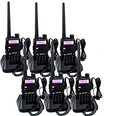 Retevis RT-5R 2 Way Radio 128CH FM UHF VHF Radio Dual Band Two-Way Radio Rechargeable Long Range Walkie Talkies for Adults (6 Pack) from Retevis
