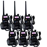 Retevis RT-5R Dual Band Two-Way Radio 128CH FM UHF VHF Radio 2 Way Radio Rechargeable Long Range Walkie Talkies for Adults (6 Pack)