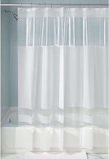 InterDesign Stripes EVA/PEVA Cortina de ducha de EVA, cortina impermeable para ducha y bañera, cortinas de diseño de 183 x 183 cm, blanco/transparente