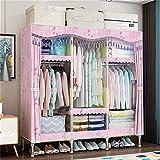 Armario Dormitorio Ensamblaje Dormitorio Tela Simple Tubería de Acero para el hogar Marco de Acero Reforzado audaz Tela Doble Individual (Color: B) sólido