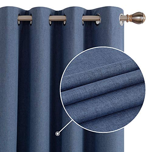 Deconovo Total Blackout Grommet Curtains with Grey Coating Light Blocking Curtains Energy Saving Curtains for Boys Room Blue 52W x 54L Inch 2 Panels