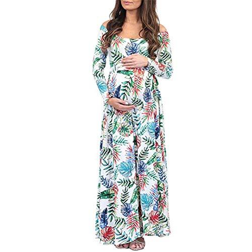 CHIYEEE Dam vardaglig långärmad maxiklänning lösa långa kjolar elegant klänning maxi fotosession klänning S-XL, Vitt, L