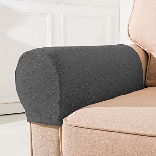 Elastischer Sofa-Armlehnen-Bezug, leicht zu entfernen, rutschfest, superweich, für Sessel, Caddy, Liegestuhl (grau)