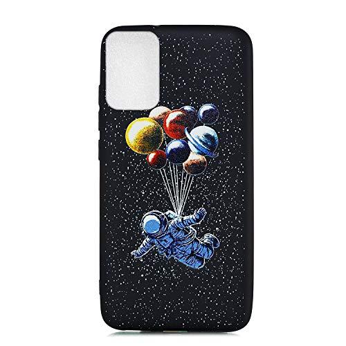 Nodigo Funda Compatible para Xiaomi Poco M3 Negro Silicona Dibujos Motivo Creativo Ultrafina Slim One Piece Carcasa Case Antigolpes TPU Bumper Kawaii Resistente Cover - Astronauta