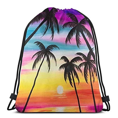 Lmtt Mochila con cordón Mochila deportiva Mochila de viaje Bolsa de viaje Sea Rainbow Coconut