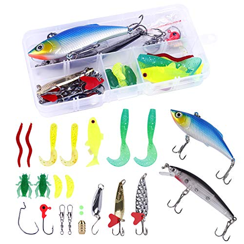 HONGXIN-SHOP Señuelos de Pesca 24 Piezas Kits de Señuelos Artificiales Ganchos Cebos Anzuelos de Pesca con Caja de Aparejos
