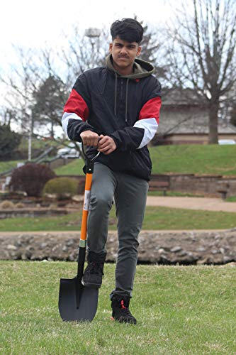 Ashman Round Shovel - The Round Shovel has a D Handle Grip with 41 Inches Long Shaft – Heavy Duty Blade Weighing 2.2 pounds with a Shaft Made of Fiberglass – Orange Shovel with a Solid Build