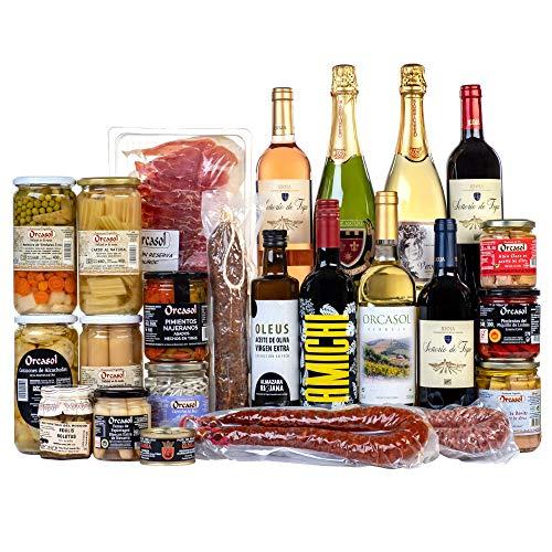 Cesta Navidad de regalo Lote Riojano gourmet / Cestas de Navidad para regalar / Lotes originales de La Rioja de productos gourmet vino tinto Rioja verdejo conservas cava embutidos