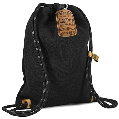 LOCTOTE Flak Sack II - The World's Toughest Theft-Resistant Drawstring Backpack (Black)
