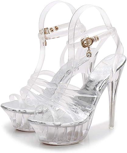 Correa de Tobillo de mujer de la plataforma de la Bomba de Fiesta Vestido de tacón Alto, Super-tacón Alto Escenario Sandalias de tacón de Cristal Transparente zapatos de mujer 14CM