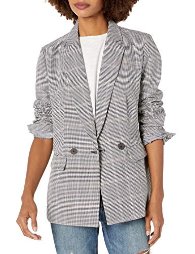 cupcakes and cashmere Women's Thames Double Breasted Boyfriend Blazer, Black Houndstooth, Extra Small