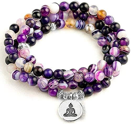 NC110 Collar Collar Raya púrpura Mate Natural 108 Cuentas Pulsera o Collar para oración Budista Yoga Mediación Pulsera Mujeres Hombres